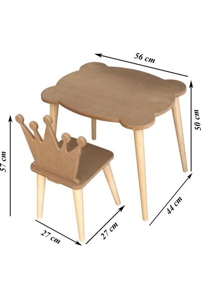 Çamsan Ahşap Mdf Boyanabilir Çocuk Masa Sandalye Takımı