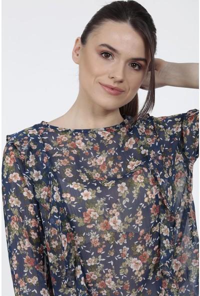 Vitrin Çiçek Desen Volan Detaylı Bluz