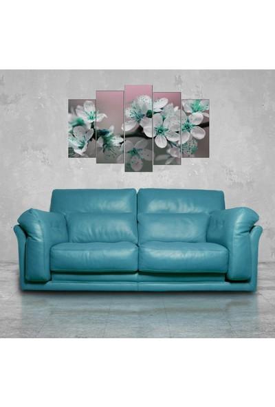 Markapia Home Yeşil Beyaz Çiçekli 5 Parçalı Mdf Tablo