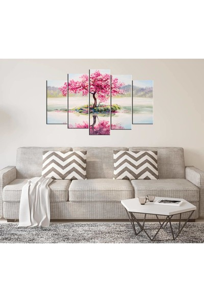 Markapia Home Pembe Çiçekli Ağaç 5 Parçalı Mdf Tablo