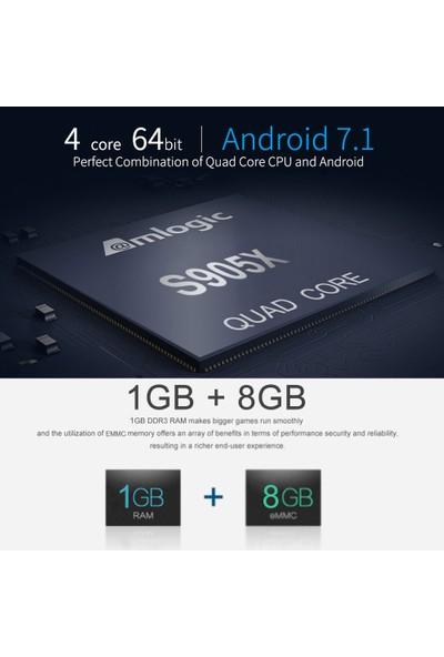 Buyfun M16 Akıllı Android 7.1 Tv Kutusu Amlogic S905X 4 Çekirdekli UHD 4K 1GB (Yurt Dışından)