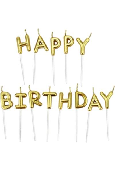 Pembe Mavi Happy Birthday Mum Doğum Günü Mumu Şık Yetişkin Pasta Mumu Gold Mum