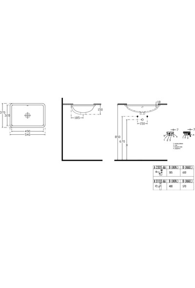 Ideal Standard Strada Tezgah Altı Lavabo 54X37 cm Beyaz