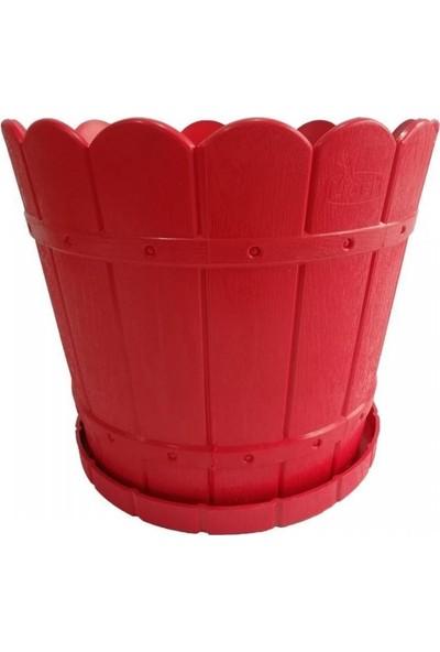 Lider Yuvarlak Balkon ve Bahçe Saksısı Kırmızı