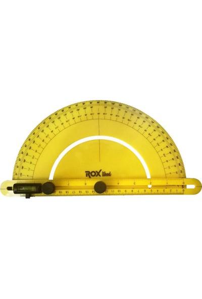 Rox Wood Çok Fonksiyonlu Dereceli Plastik Açı Bulucu Gönye 0-180 Derece
