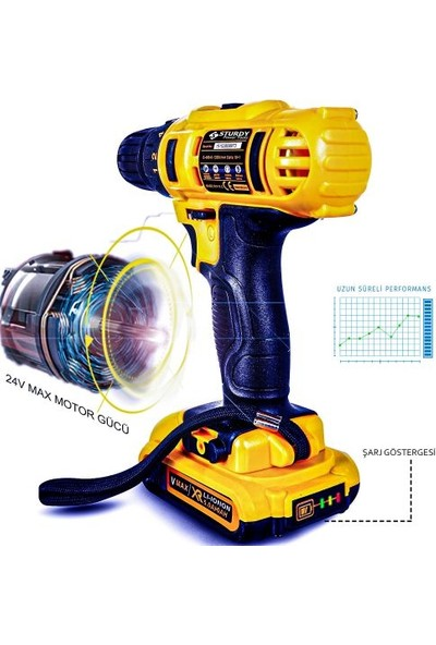 Sturdy Power Tools 32 Volt 5.0 Amper Darbesiz Çift Akülü 27 Parça Uç Setli Şarjlı Vidalama Matkap