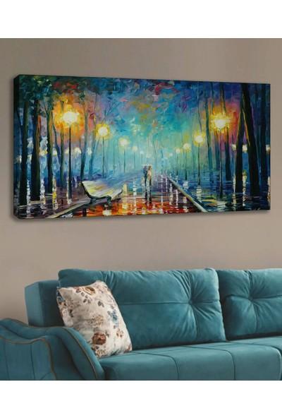 Syronix Yaz Akşamı Mavi Soyut Kanvas Tablo 120 x 60 cm