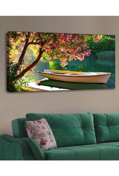 Syronix Kayık Göl Manzara Kanvas Tablo 120 x 60 cm