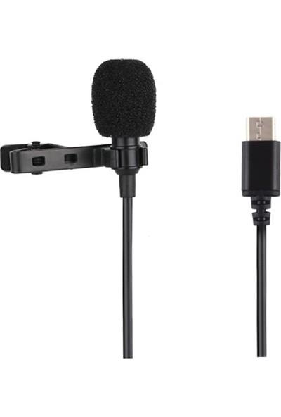Puluz Type-C Profesyonel Telefon Youtuber Yaka Mikrofonu 1.5m AL-32324