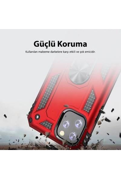 Sepetzy Samsung Galaxy A80 Kılıf Powering Yüzüklü Standlı Zırh Kapak Kırmızı