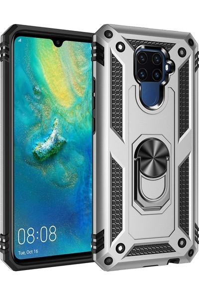 Sepetzy Huawei Mate 30 Lite Kılıf Powering Yüzüklü Standlı Zırh Kapak Gri