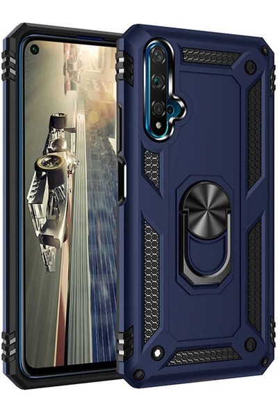 Sepetzy Huawei Nova 5T Kılıf Powering Yüzüklü Standlı Zırh Kapak Lacivert