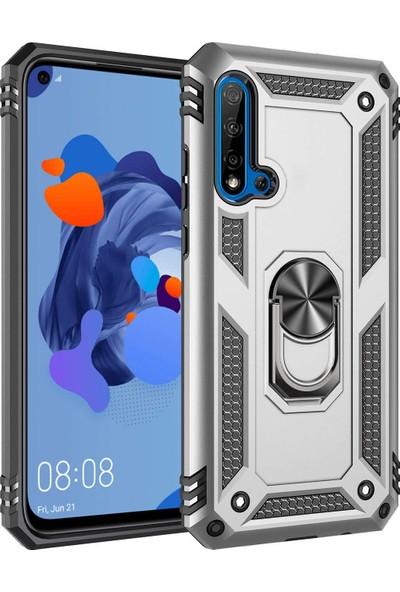 Sepetzy Huawei Nova 5T Kılıf Powering Yüzüklü Standlı Zırh Kapak Gri