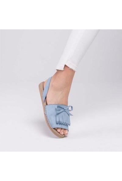 Pabucmarketi Mavi Süet Sandalet