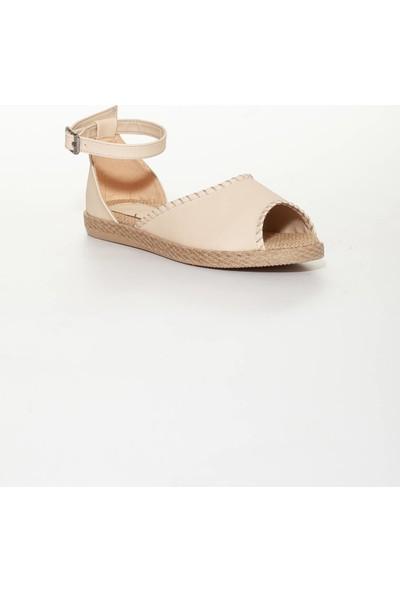Pabucmarketi Krem Rengi Sandalet