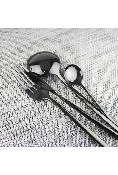 Bilderberg Siyah Çatal Kaşık Bıçak Seti 24 Parça