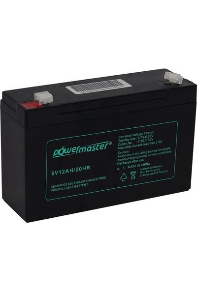 Powermaster 6 Volt 12 Amper Akü (150X50X94 Mm)