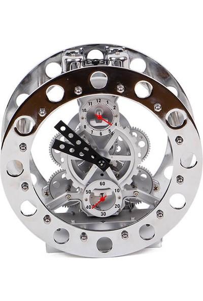 Crownwell Masaüstü Saat Çark Gümüş