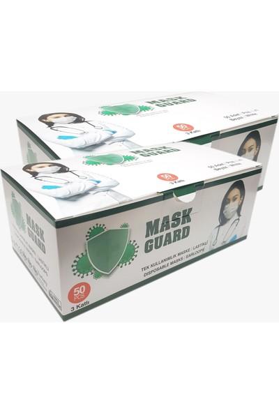 Mask Guard 3 Katlı Tek Kullanımlık Medikal Maske 50'li x 2 Adet