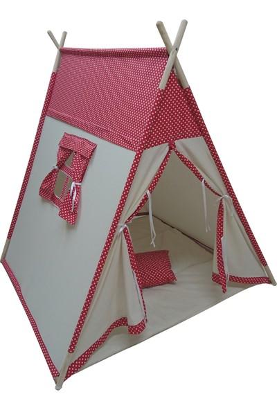 Altev Prizmatik Ahşap Puantiye Desenli Çocuk Çadırı