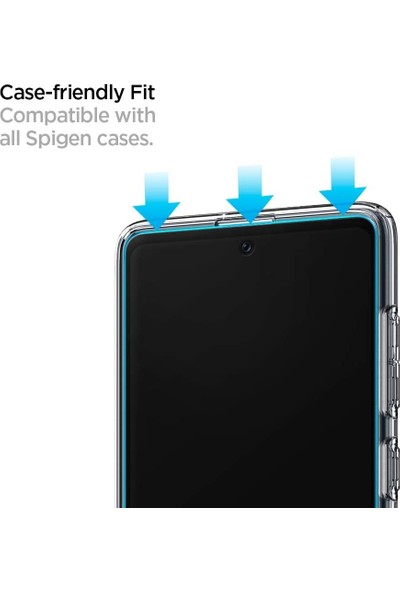Spigen Samsung Galaxy A71 Cam Ekran Koruyucu Tam Kaplayan Full Cover Black - AGL01049