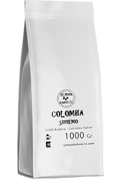 Yılman Kahvecisi Colombia Supremo %100 Arabica Filtre Kahve Taze Kavrulmuş Çekirdek 1000 Gr.