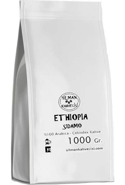 Yılman Kahvecisi Ethiopia (Etiyopya) %100 Arabica Filtre Kahve Orta Kavrulmuş Tam Çekirdek 1000 gr