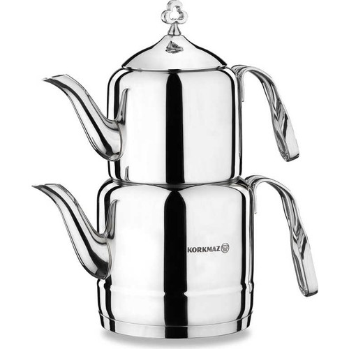 Korkmaz A211 Çintemani Çaydanlık Takımı Gümüş