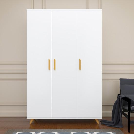 Mordeka Premium 3 Kapaklı Beyaz Gardırop