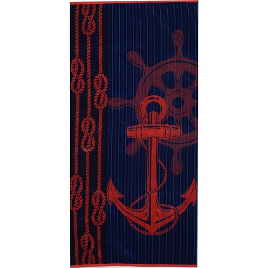 Özdilek Summer Heat Red Anchor Kadife 70 x 140 cm Plaj Havlusu