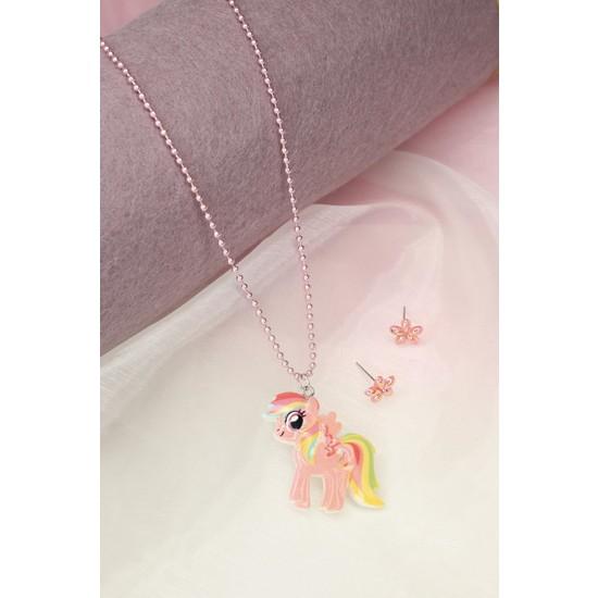 Newobsessions Unicorn Çocuk Kolye - Küpe Seti