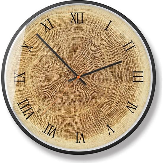 Yukka Ahşap Duvar Saati Modern Basit Sessiz Yuvarlak Yaratıcı Duvar Saati