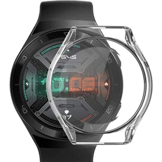 Gpack Huawei Watch GT 2E 46mm Kılıf Önü Kapalı Silikon Şeffaf