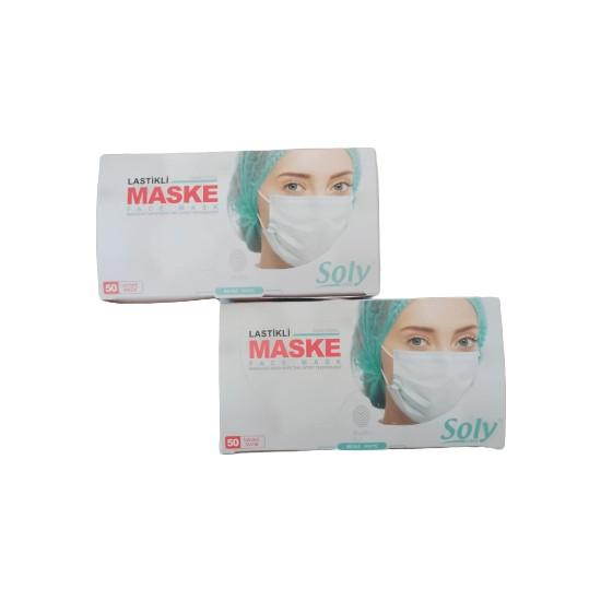 Soly Care Tek Kullanımlık Üç Katlı Cerrahi Maske Telli 50 Adet 2'li