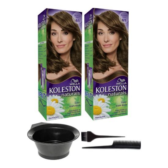 Wella 2'li Koleston Naturals 6/1 Büyüleyici Kahve Kalıcı Krem Saç Boyası ve Saç Boyama Seti