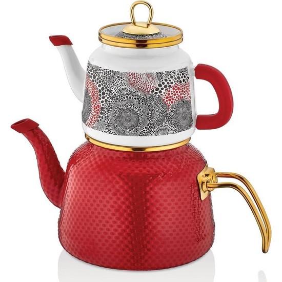 Schafer Glaze Emaye Çaydanlık Takımı 4 Parça Kırmızı