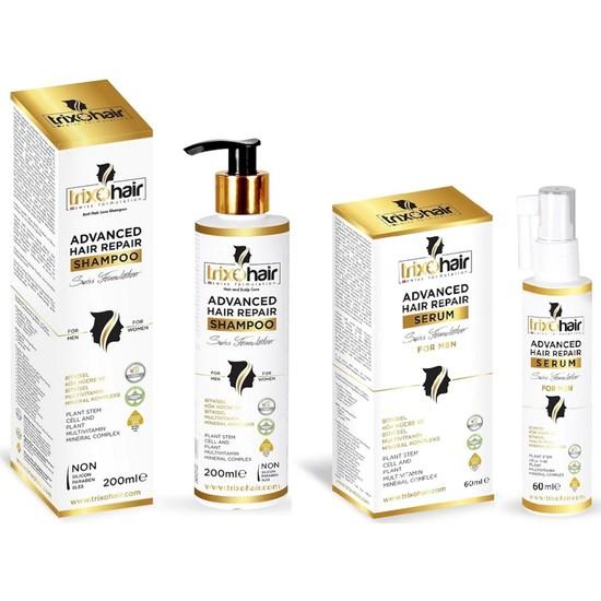 Trixohair Saç Dökülmesine Karşı Saç Bakım Serumu ve Saç Bakım Şampuanı Erkekler İçin - 200ml+60ml