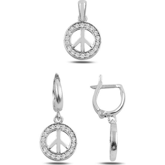 Tevuli Gümüş 925 Ayar Zirkon Taşlı Barış Işareti Set