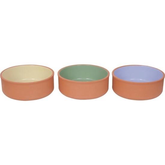Mogan - Via Port Çömlekçilik 3'lü 11,5 cm Renkli Sırlı Sütlaç Kase