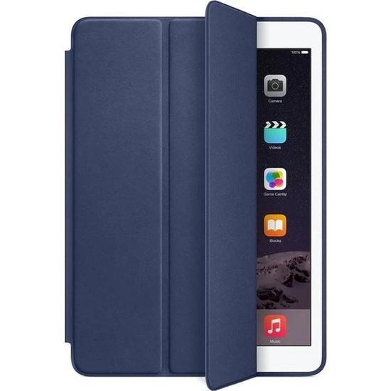 """Fibaks Apple iPad Air 2 (2014) 9.7"""" Kılıf + Kalem Uyku Modlu Smart Cover Katlanabilir Standlı Kapaklı Tablet Kılıfı Lacivert"""