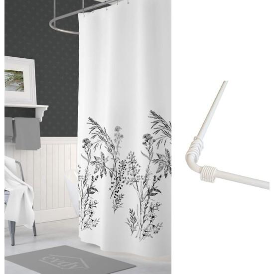 Prado Funda Banyo Duş Perdesi Çift Kanatlı 2 x 120 x 200 cm + Askı