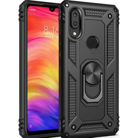 Herdem Huawei P Smart 2019 Kılıf Yüzüklü Çift Katmanlı Zırh Tam Koruma Silikon - Siyah