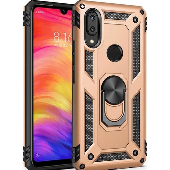 Herdem Huawei P Smart 2019 Kılıf Yüzüklü Çift Katmanlı Zırh Tam Koruma Silikon - Gold