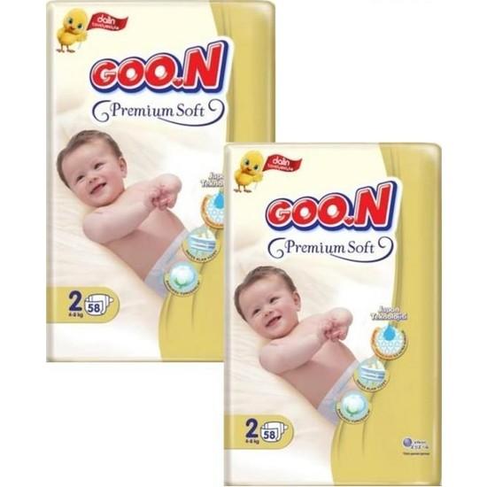 Goon Premium Bebek Bezi 2 Beden 58'li 2 Paket