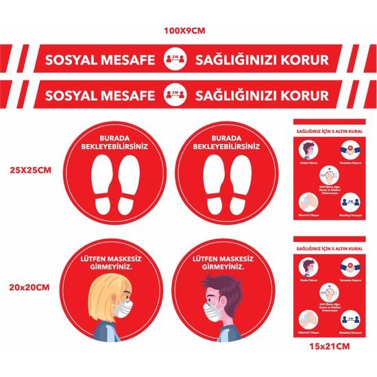Baskım Burada Remix Reklam - Sosyal Mesafe Uyarı - Sosyal Mesafeyi Koruyalım - Kırmızı Set