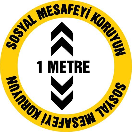 Baskım Burada Remix Reklam - Sosyal Mesafe Uyarı - Sosyal Mesafeyi Koruyun 1 Metre - 30X30Cm