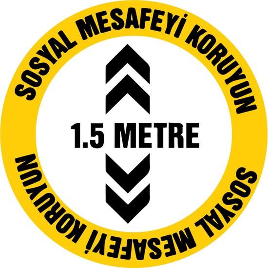 Baskım Burada Remix Reklam - Sosyal Mesafe Uyarı - Sosyal Mesafeyi Koruyun 1.5 Metre - 30X30Cm
