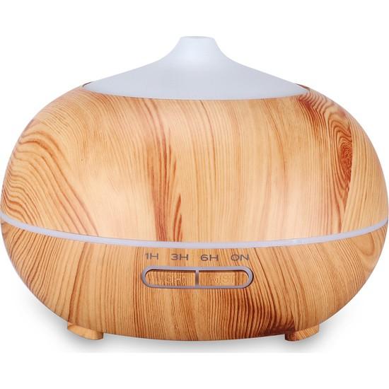 Yukka 400 ml Esansiyel Yağı Difüzör Ahşap Aromaterapi Ultrasonik Nemlendirici