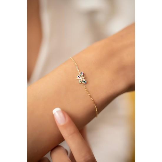 Ninova Silver Kelebek Model Mix Taşlı Altın Kaplama Gümüş Italyan Bileklik