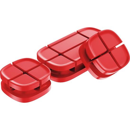 Baseus Cross Peas Kablo Tutucu Kırmızı